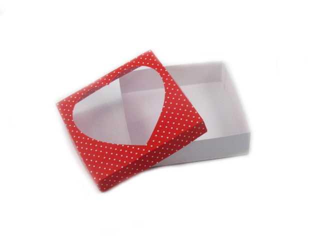 Caixa Poá Vermelho com Visor em Acetato Coração 13x13x3,5 cm Csr