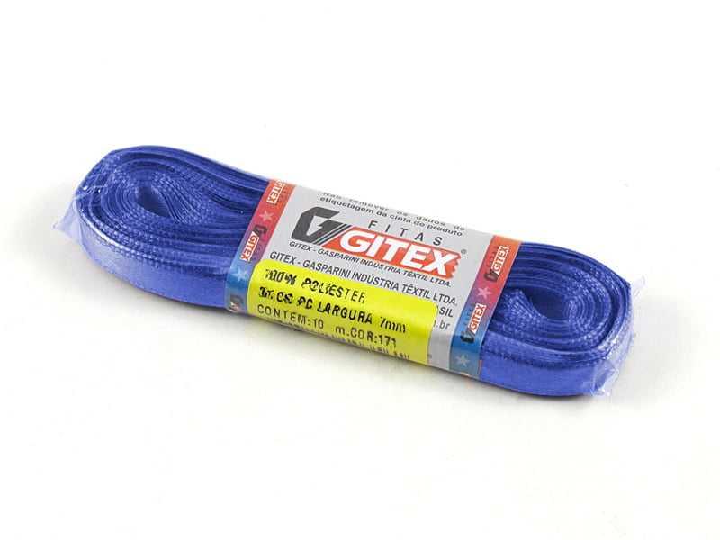 Fita de Cetim Lisa N1 Azul 10m Gitex