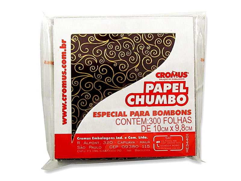 Papel Chumbo Arabesco Marrom 10x10 c/ 300 Folhas Cromus
