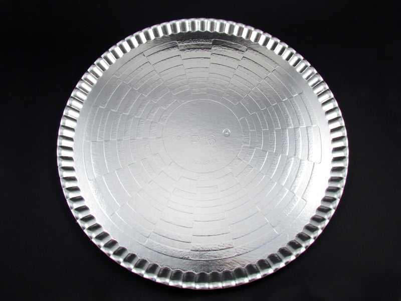 Bandeja de Papel Laminado Redondo Prata s/Borda 45cm Flopel