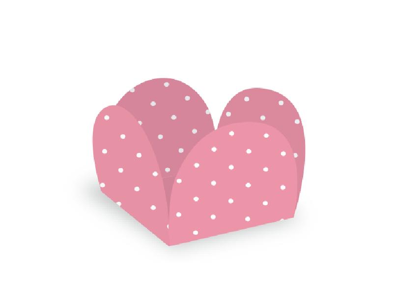 Forma para Doce Caixeta 3,5cm Poá Rosa/Branco c/ 50 unidades - Ultrafest