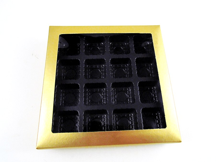 Caixa para Bombom Garbo Ouro 17,5x17,5x3,5 Cromus