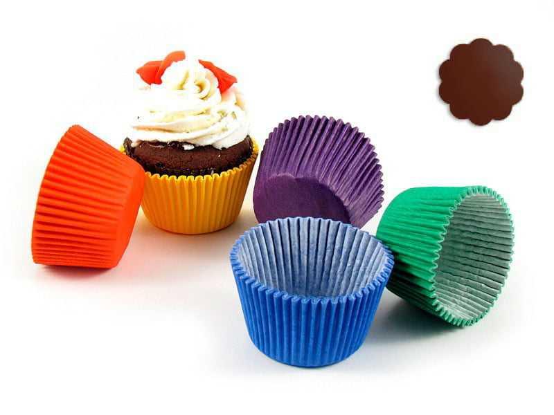 Forminha de Papel para Cupcakes Impermeável 2 lados N0 Marrom c/34 Mago