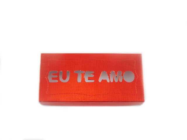 "Caixa Retangular Metalizada Visor ""Eu Te Amo"" 19x9x4 cm Csr"
