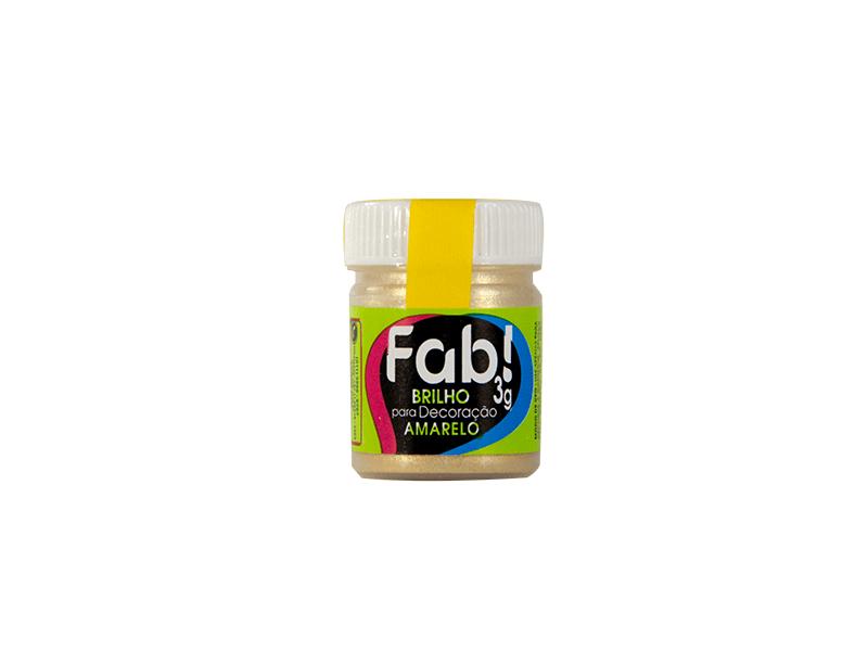 Pó Brilhante para Decoração Amarelo 3g – Fab