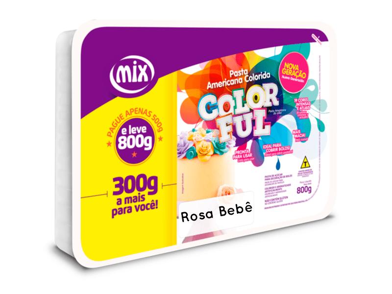 Pasta Americana 800g Rosa Bebê - Mix