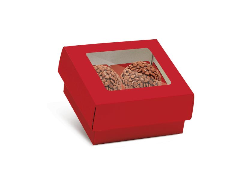 Caixa para 4 Doces c/ Forminhas - Vermelha - Cromus
