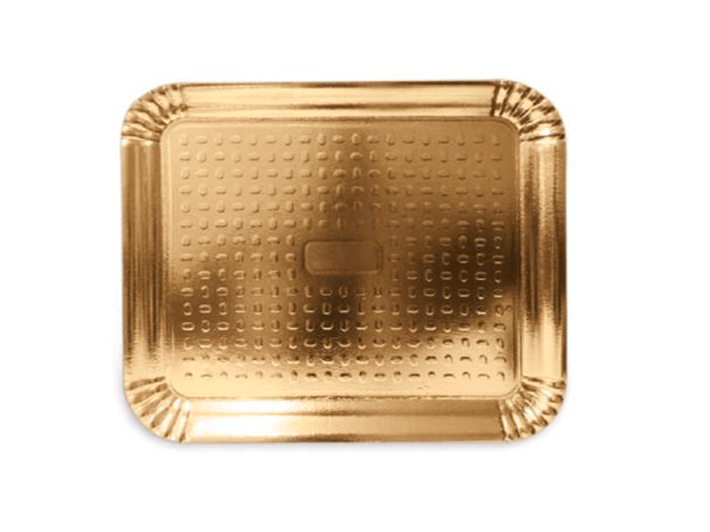 Bandeja de Papel Laminado Retangular Ouro 34x20 cm - Cromus