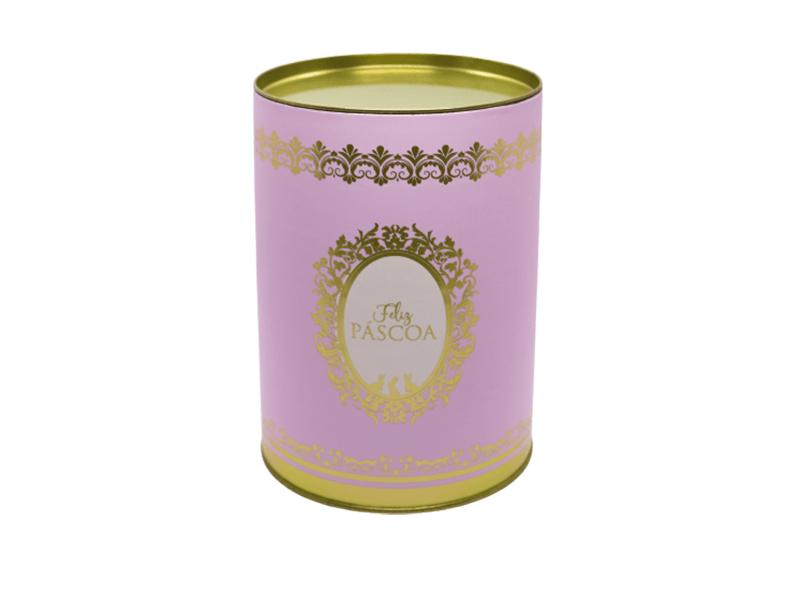 Lata Decorada Feliz Páscoa Rosa - Royalle - Cromus
