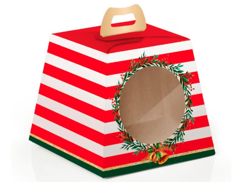 Caixa para Panetone 100g c/Visor Guirlanda – Cromus