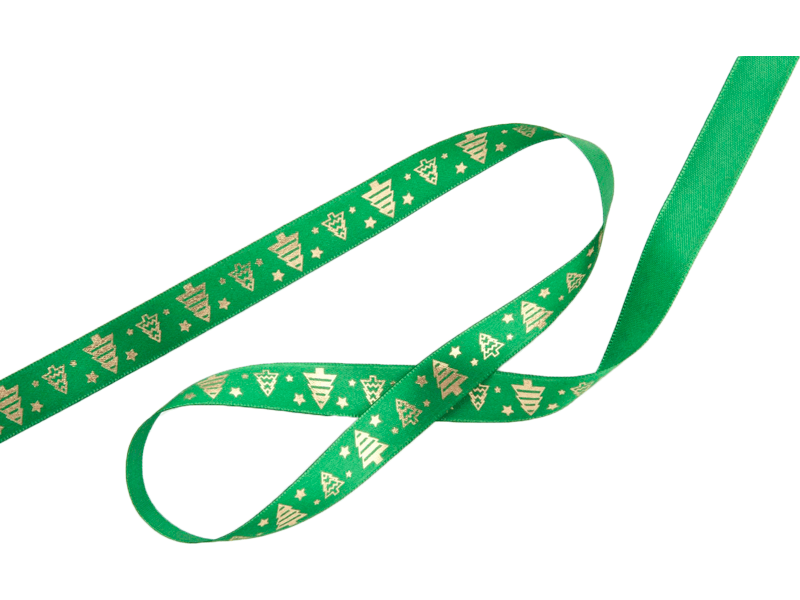 Fita de cetim Natal  Verde/ Ouro - Fitas Progresso