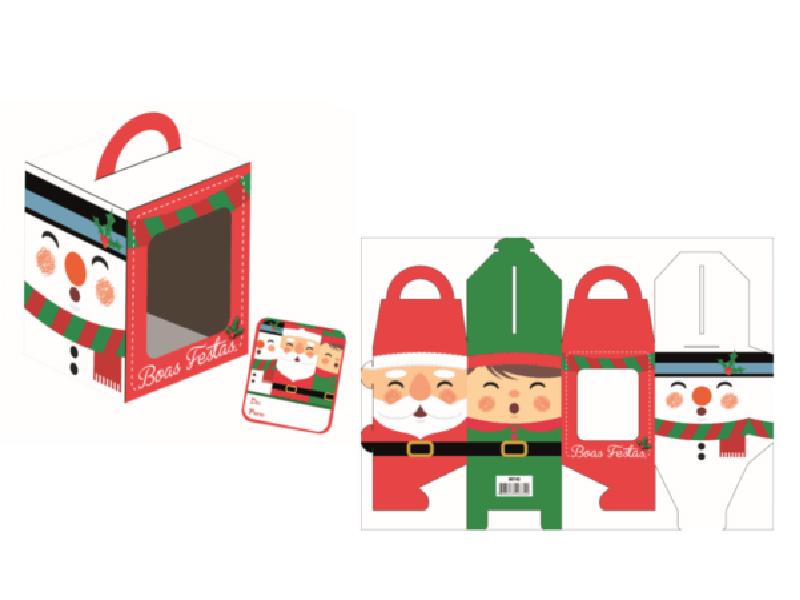 Caixa para Mini Panetone c/ 3 unidades – Noel