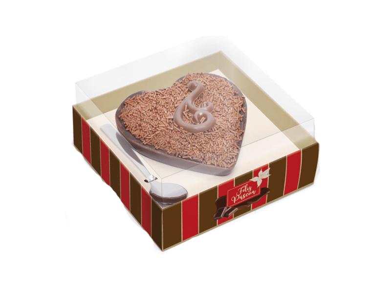 Caixa para Ovo de Colher Coração 250g - Listras - Cromus