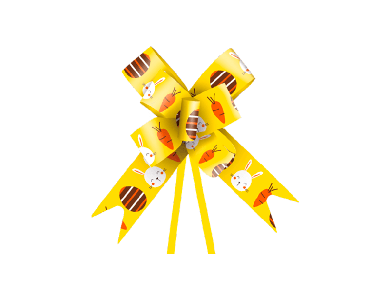 Laço Pronto Fun 1,8x38 cm c/ 10 unidades - Amarelo - Cromus