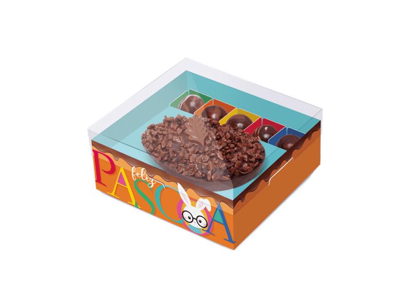 Caixa para Ovo de Colher e Docinhos Laranja 350g - Cores - Cromus