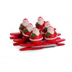 Pregador Enfeite de Natal Papai Noel Presente c/6 Cromus
