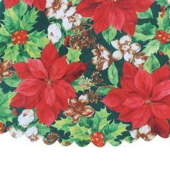 Toalha de Mesa Redonda Flores Natalinas 1,60 m Yangzi