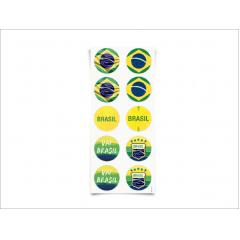 Adesivo Redondo Brasil c/30 unidades – Cromus