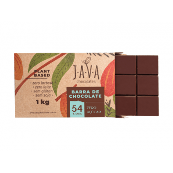 Chocolate Vegano Amargo Zero Açúcar 54% 1kg - Java Chocolates