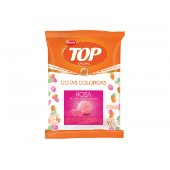 Cobertura Colorida de Chocolate Branco Rosa Harald Top Gotas 500g