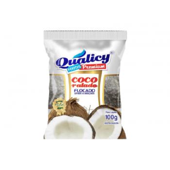 Coco Ralado Flocos Úmido e Adoçado 100g - Qualicy