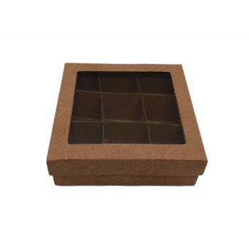Caixa Kraft Acetato Visor para 9 Bombons 12x12x4 cm - Agabox