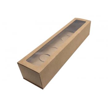 Caixa Kraft c/ Visor 32x7x6 cm Gaveta - Ideia Embalagens