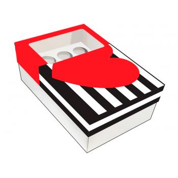 Caixa para 15 Doces 20x13x7 cm - Coração Listras