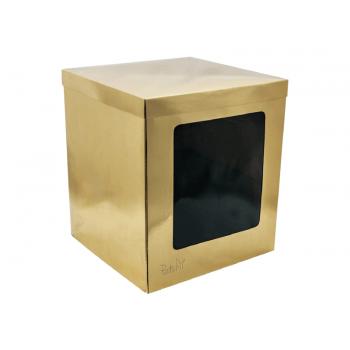 Caixa para Transporte de Bolo Cake Box 26x26x30 cm Dourada – Patchii Embalagens