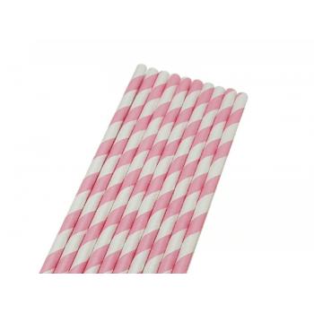 Canudo de Papel Listrado Rosa e Branco c/ 50 unidades - Bwb
