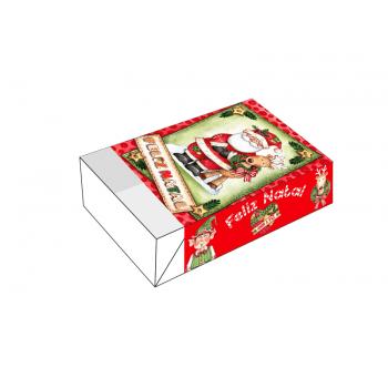 Caixa para 6 Doces- Papai Noel e Rena