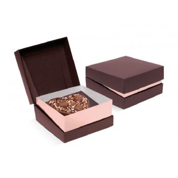Caixa para Coração de Colher 250g  13x5,5x13cm Cor Marrom/Rosê Gold