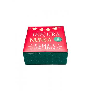 Caixa para Doces Natal Noel Chef 8,5x8,5x3,5 cm - Cromus