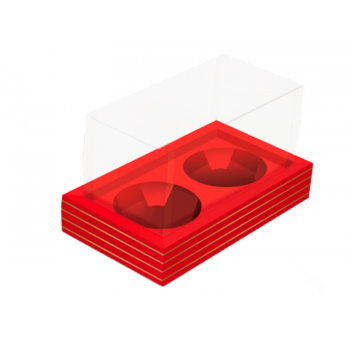 Caixa para Panetone de 80 g Acetato Vermelha e Ouro - Cromus