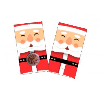 Cartão Feliz Natal Papai Noel com Embalagem para Doces- c/10 unidades