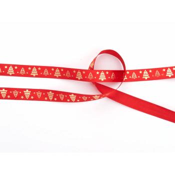 Fita de Cetim Natal Vermelho Ouro 10 m – Fitas Progresso