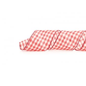 Fita de Tecido Aramada Xadrez Vermelho/ Branco 9,14M – Cromus