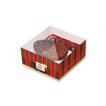 Caixa para Ovo de Colher e Docinhos vermelha 100g - Listras - Cromus
