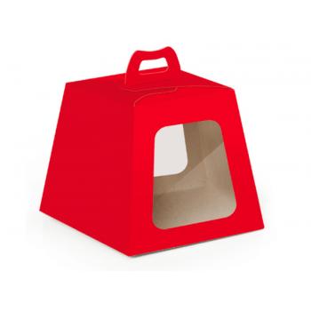 Caixa para Panetone com Visor Vermelho 500 g- Cromus