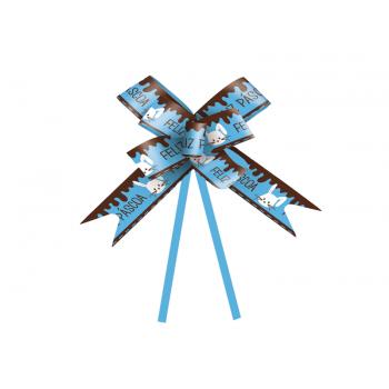 Laço Pronto Coelho Feliz Páscoa c/10 Unidades - Azul Claro - Cromus
