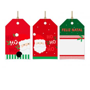 Tags de Natal HoHoHo c /12 Unidades - Cromus