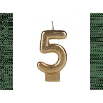 Vela de Aniversário Dourada Glitter N5 - Silver Plastic