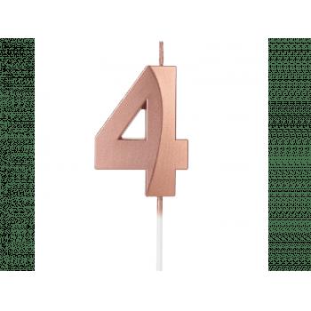 Vela de Aniversário Rose Gold Design N4 - Silver Plastic