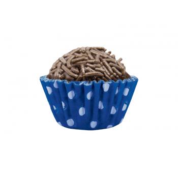 Forminha de Papel N5 Azul c/ Bolinha Branca c/100 - Mago