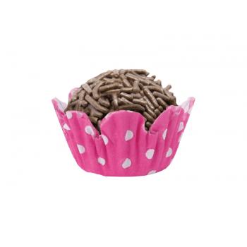 Forminha de Papel Recortado N5 Pink c/ Bolinha Branca c/ 100