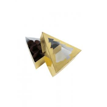 Caixa para Doces Árvore de Natal Dourada 15,8x4 cm - Patchii