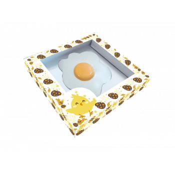 Caixa para Ovo Frito de Chocolate Branca c/ 3 unidades – Pintinho no Ovo