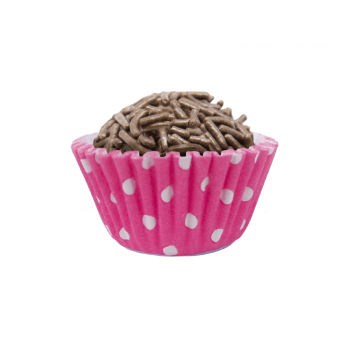 Forminha de Papel Pink c/ Bolinha Branca c/100 - Mago